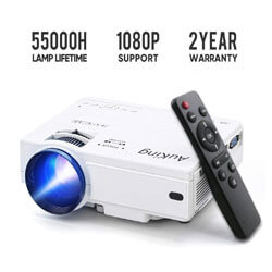 Auking 2019 Upgraded Mini Projector, Multimedia Home Theater Movie Projector, Best Home Theater Projector Under 200